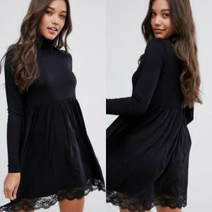 Asos Black Pleat Turtleneck Skater Dress Lace Hem